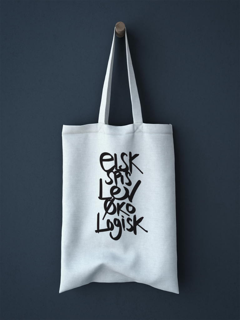økologisk landsforening, design for økologi, tshirt design, kalligrafi, handmade, design by yummidesign, art director signe boye
